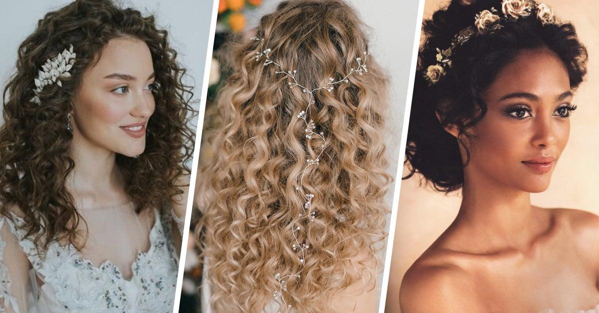Formas modernas de peinados novia pelo rizado Imagen de cortes de pelo estilo - 12 Peinados de novia de cabello rizado que te fascinaran