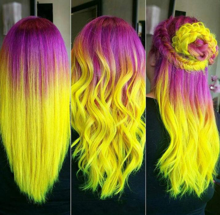 Chica con el cabello de color amarillo y rosa sujetado en una trenza