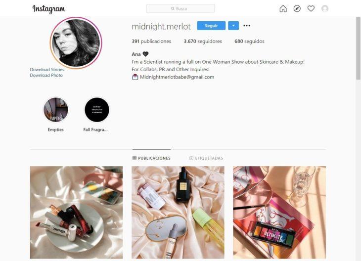 Portada de la cuenta de Instagram @midnight.merlot