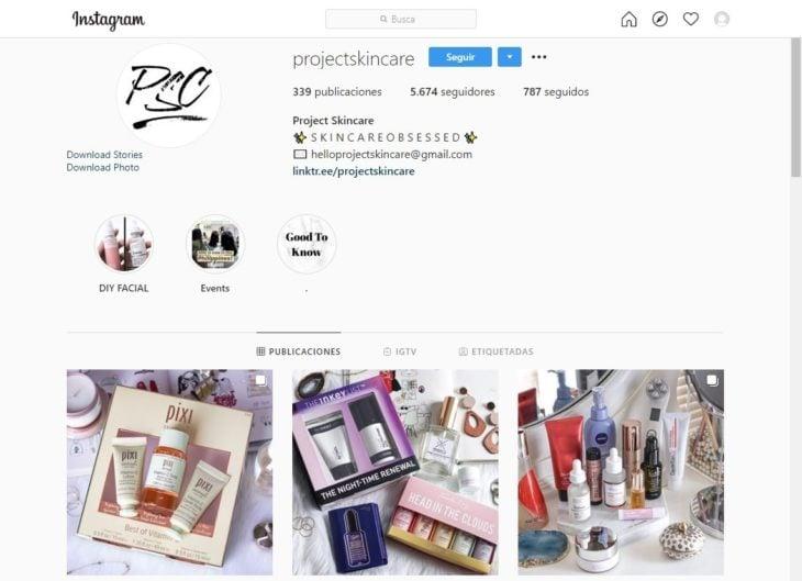 Portada de la cuenta de Instagram @projectskincare