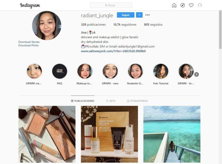 Portada de la cuenta de Instagram @radiant_jungle