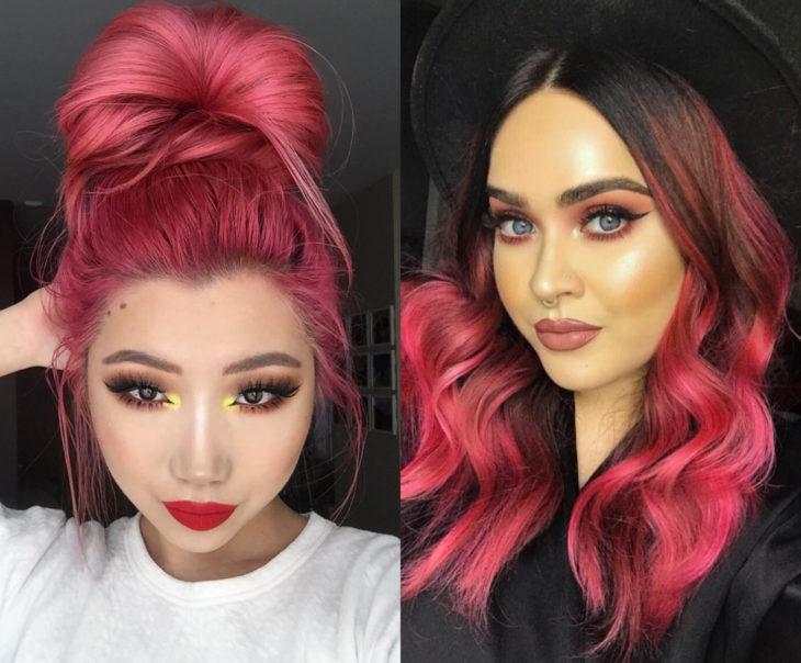 Tonos de rosa para pintarte el cabello; ponche