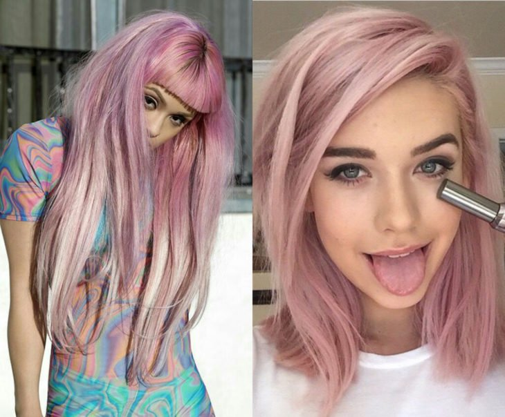 Tonos de rosa para pintarte el cabello; crepe