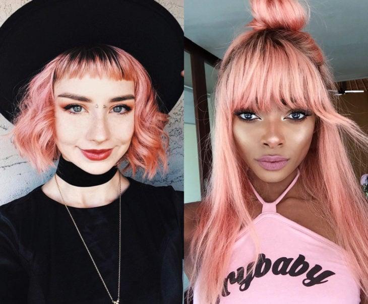 Tonos de rosa para pintarte el cabello; salmón