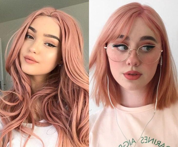 Tonos de rosa para pintarte el cabello; melocotón