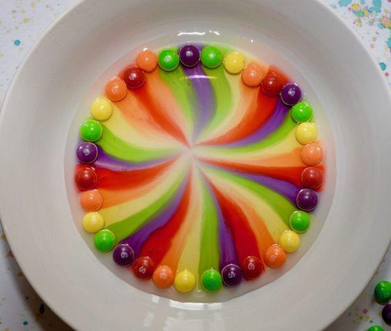 Experimento colorido con skittles