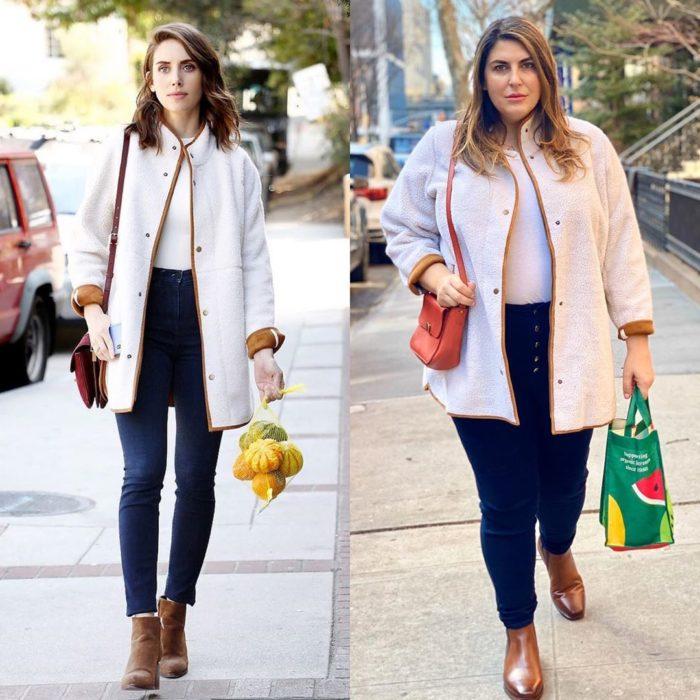 Katie Sturino replicando outfit de Alison Brie