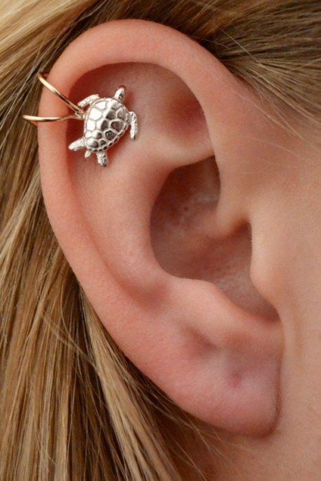 Arete en el oído de argollas y una tortugita