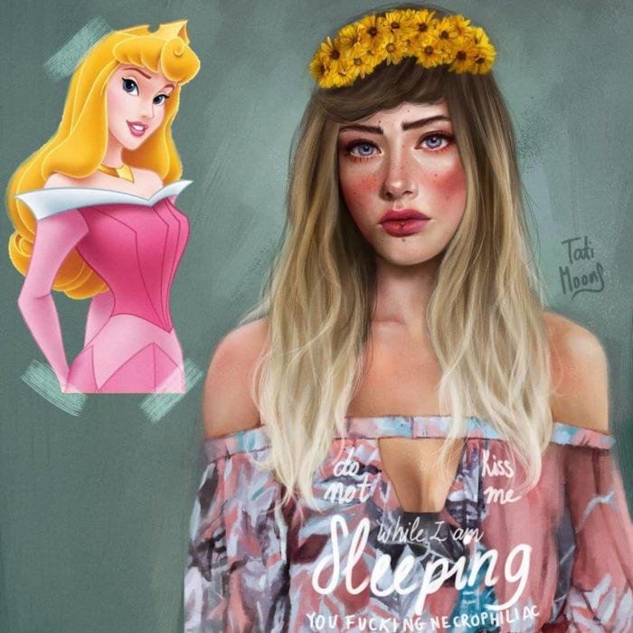 Ilustración de la princesa Aurora como si fuera adolescente