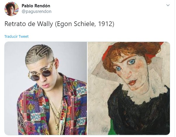 Hilo de twitter en el que se compara a Bad Bunny con diferentes obras de arte famosas