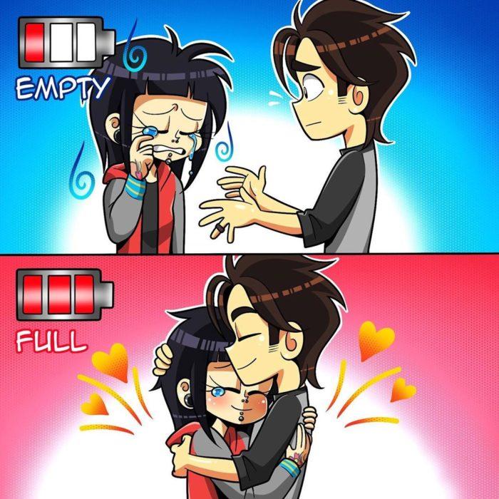 Ilustración de Coraline que la muestra a ella y su pareja cuando alguno tiene un mal día y todo mejora después de un abrazo reconfortante de parte de su pareja