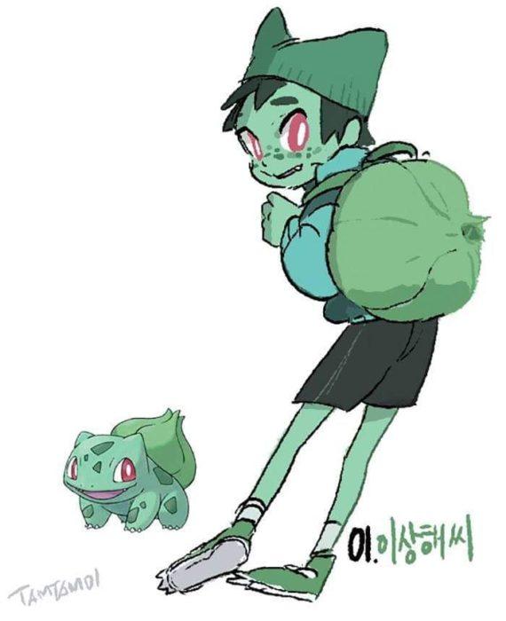 Dibujo de pokémon bulbasaur con su versión en persona