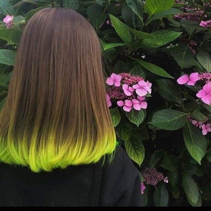 Cabello con puntas de color verde vibrante