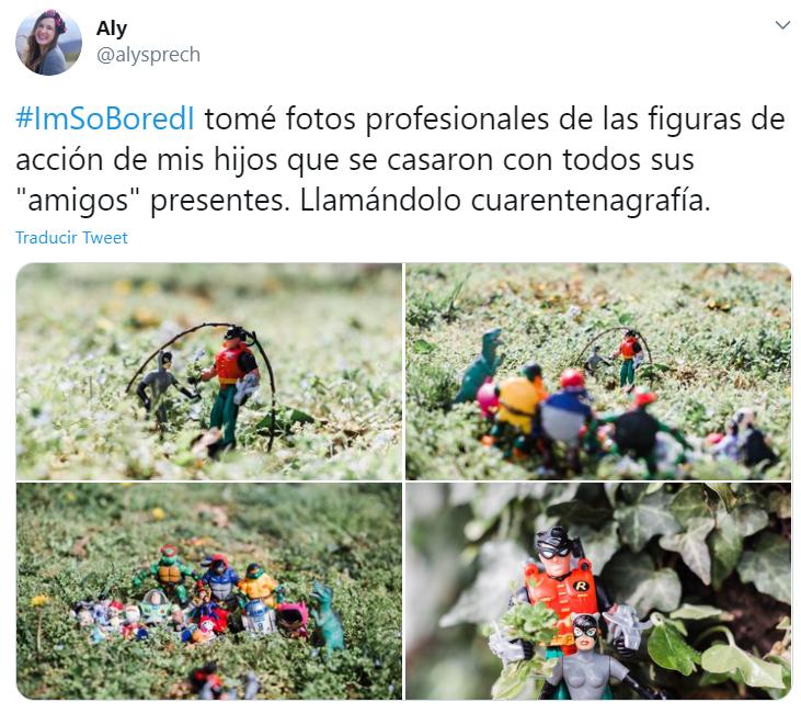 Captura de Twitter con fotografías de juguetes