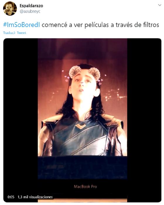 Captura de Twitter con fotografía de Loki con filtro de snapchat