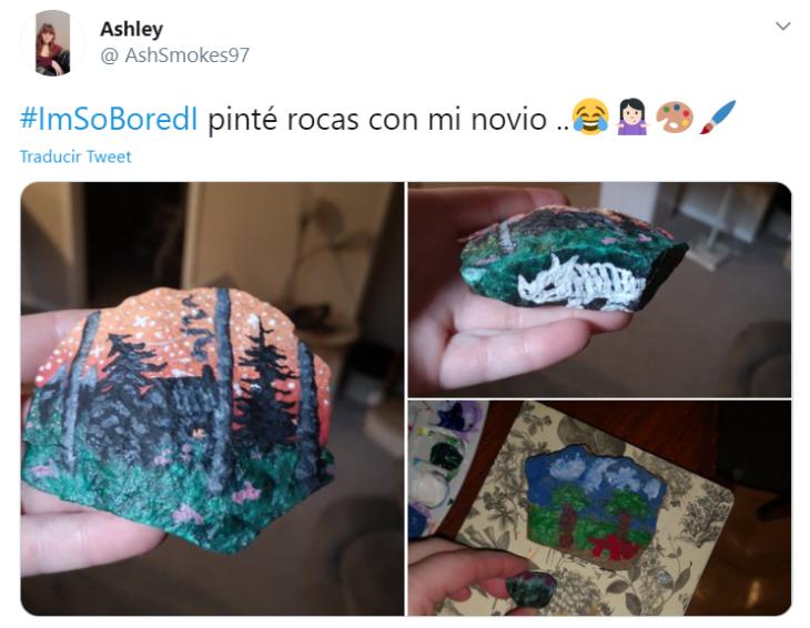 Captura de Twitter con fotografías de rocas pintadas artisticamente