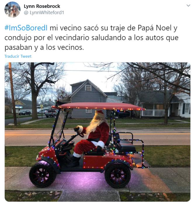 Captura de Twitter con imagen de hombre vestido de Santa Claus