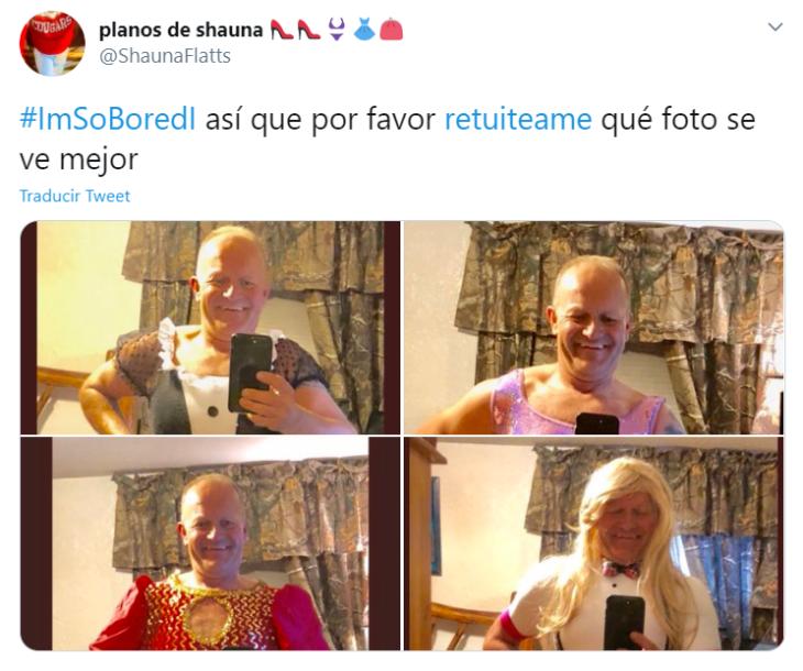 Captura de Twitter con fotografías de un hombre vestido de diferentes formas