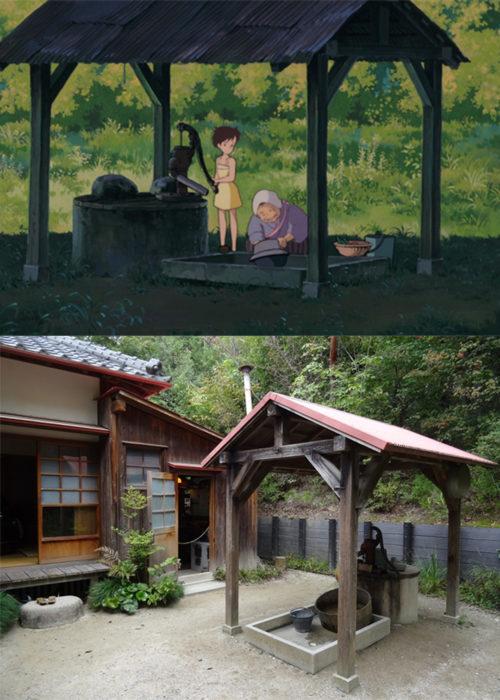 Comparación de la casa de Totoro en la película vs en la vida real