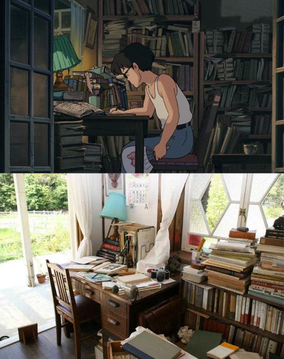 Replica de la casa de la película mi vecino totoro comparada con la imagen real