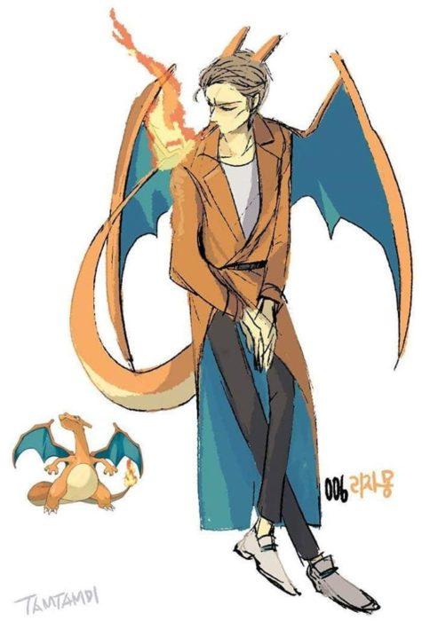 Dibujo de pokémon charizard con su versión en persona