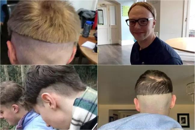Chicos con el cabello cortado de manera irregular