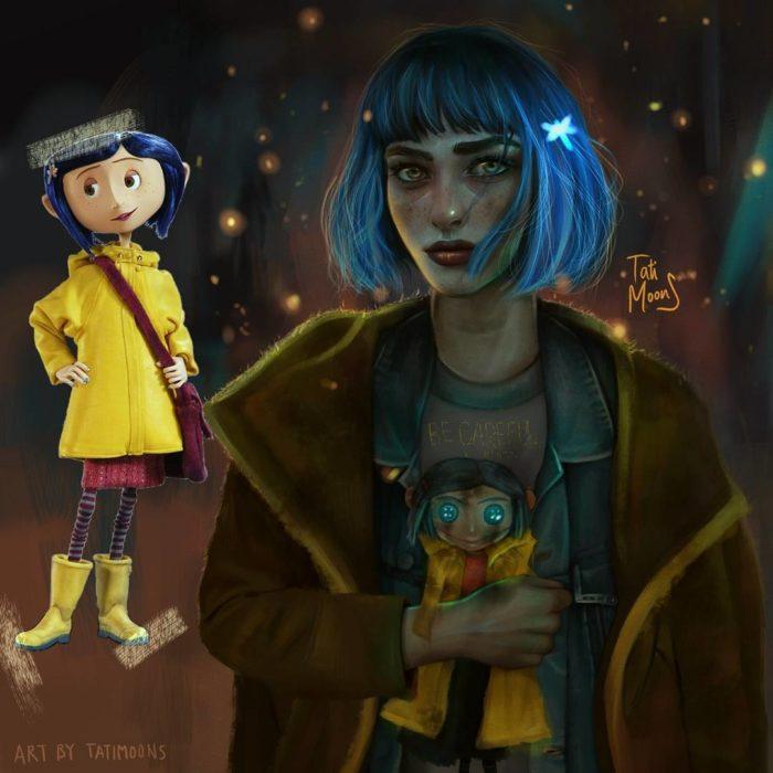 Ilustración de Coraline luciendo como adolescente