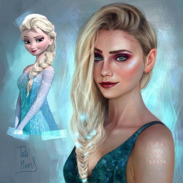Ilustración de Elsa luciendo como adolescente