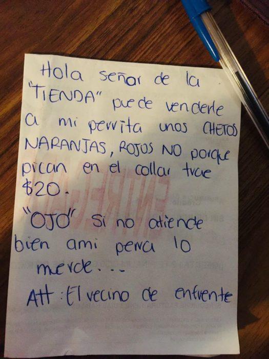 Nota escrita a mano pidiendo la venta de cheetos