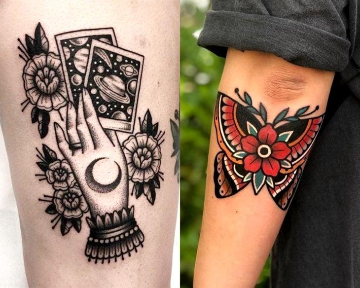 Estilos de tatuajes femeninos; tatuaje tradicional de mano con cartas de tarot y mariposa bajo el codo