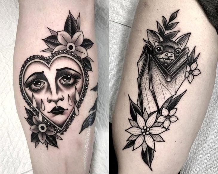 Estilos de tatuajes femeninos; tatuaje neotradicional en gris y negro, corazón con rostro llorando y murciélago con flores