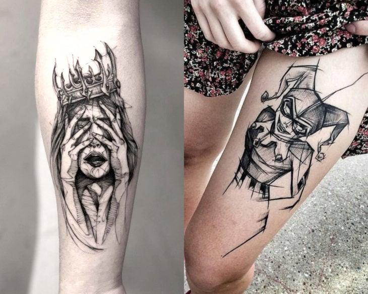 Estilos de tatuajes femeninos; tatuaje estilo sketch, bosquejo en brazo y muslo; Harley Quinn