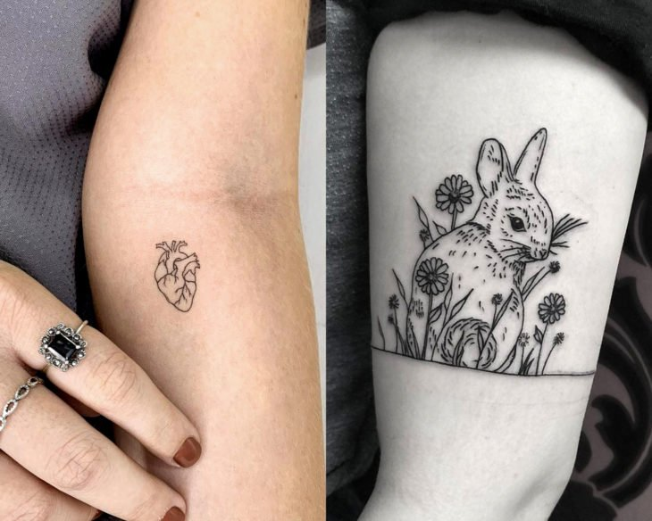 Estilos de tatuajes femeninos; tatuaje minimalista de corazón realista y conejo