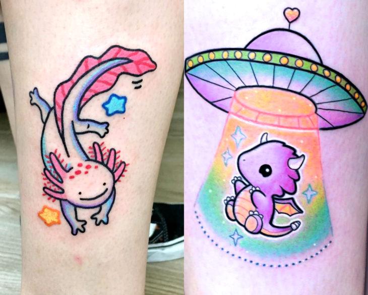 Estilos de tatuajes femeninos; tatuaje de axolote y dragón en ovni, kawaii