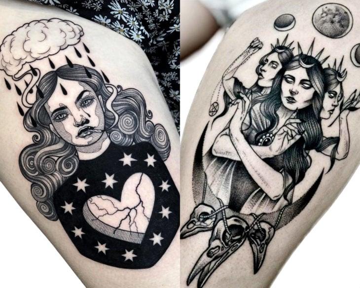 Estilos de tatuajes femeninos; tatuaje negro con gris de brujas, en el muslo