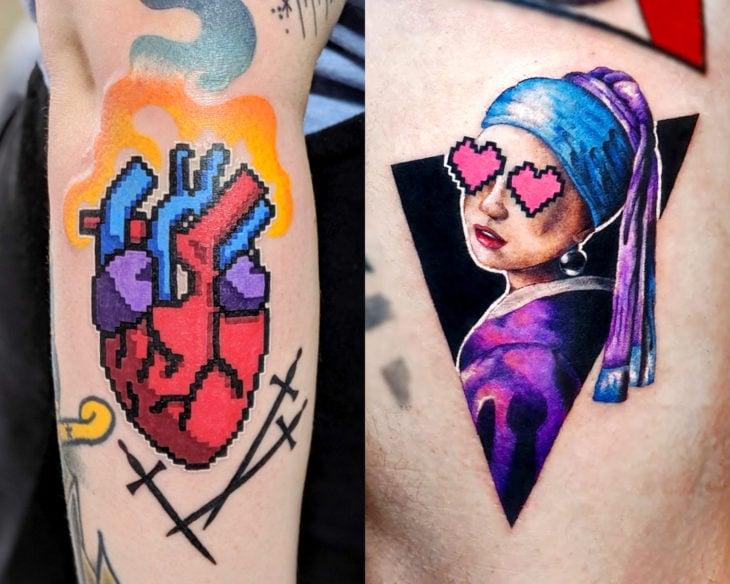 Estilos de tatuajes femeninos; tatuaje pixeleado de corazón realista