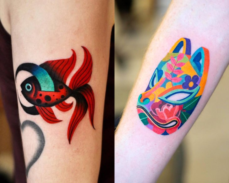 Estilos de tatuajes femeninos; tatuaje full color, colorido, máscara japonesa de zorro y pez beta rojo, en el brazo