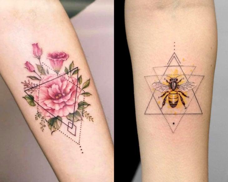 Estilos de tatuajes femeninos; tatuaje geométrico con flores y abeja dentro de triángulos y rombos