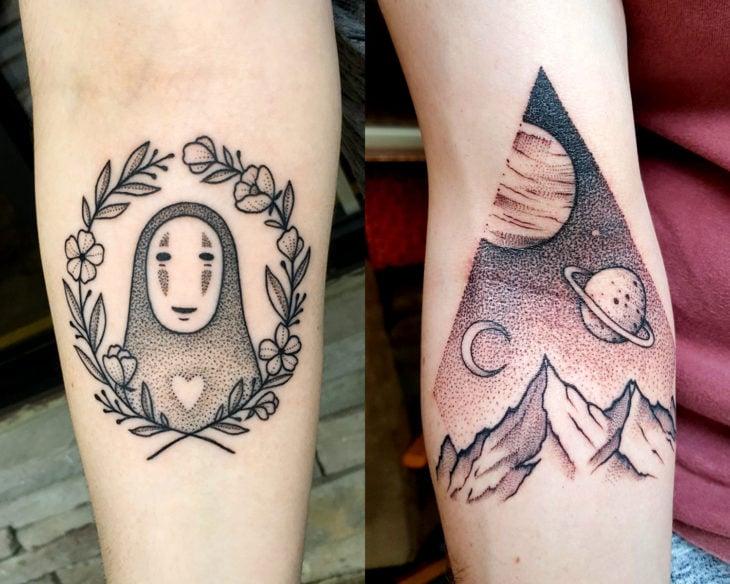 Estilos de tatuajes femeninos; tatuaje de puntillismo de Kaonashi de El viaje de Chihiro, universo y planetas