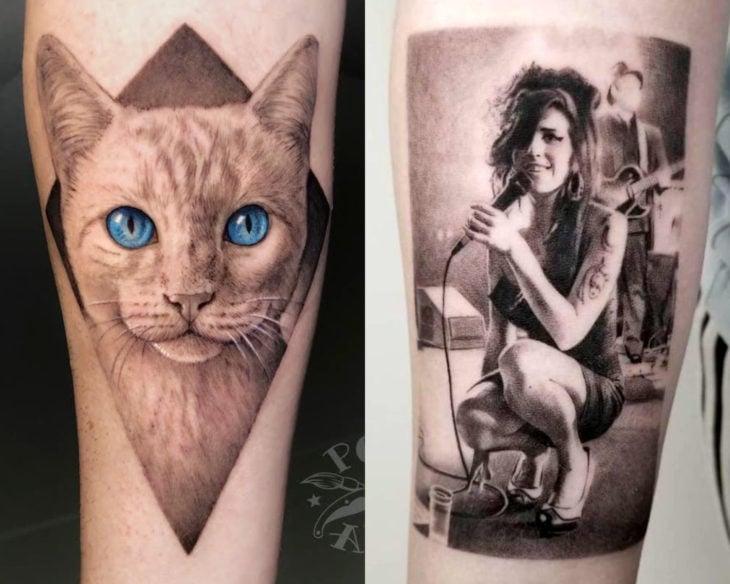 Estilos de tatuajes femeninos; tatuaje realista de gato con ojos azules y Amy Winehouse