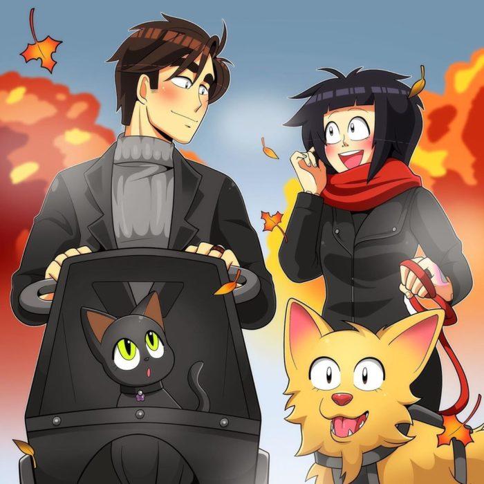 Ilustración de Coraline que la muestra a ella y su pareja cuando pasean a sus mascotas como una familia feliz