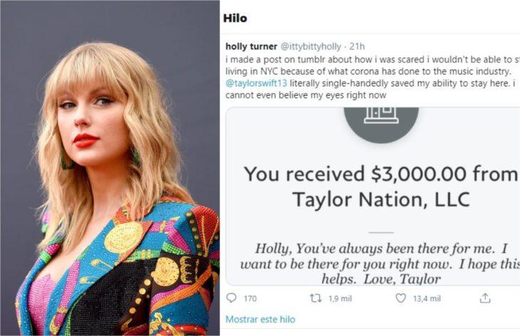 Taylor Swift donando a una fan para ayudar a pagar la renta