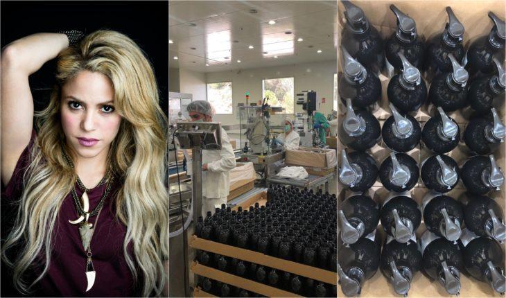 Shakira compartiendo la producción de gel antibacterial