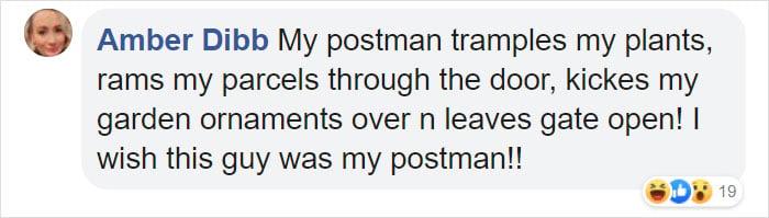 Comentarios en Facebook sobre cartero que se disfraza para alegrar a personas en cuarentena