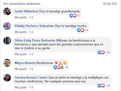 Comentarios en facebook sobre chico que hizo despensa para sus trabajadores
