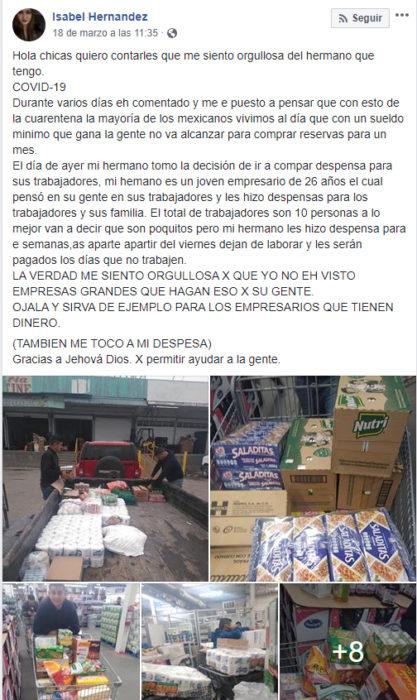 Publicación en facebook de empleado que le regaló despensas a sus trabajadores