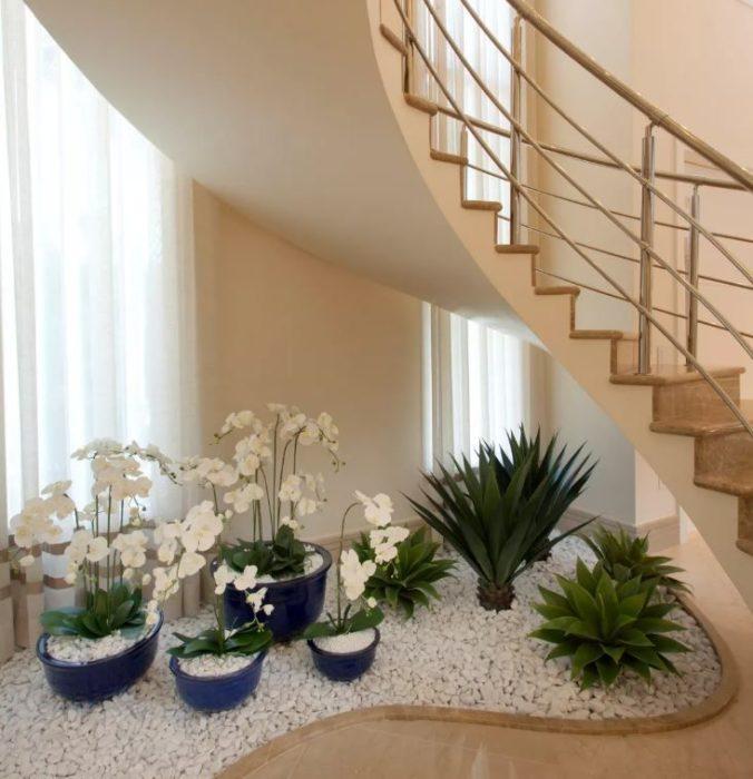 Espacio con plantas y piedras blancas debajo de una escalera