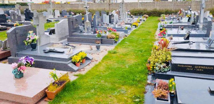 Tumbas de un cementerio adornadas con cientos de flores