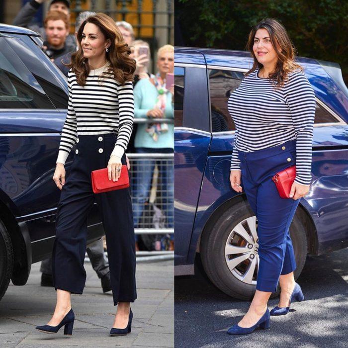 Katie Sturino replicando outfit de Kate Middleton
