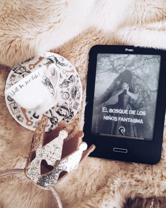 Dispositivo de lectura digital sobre manta y algunos adornos alrededor